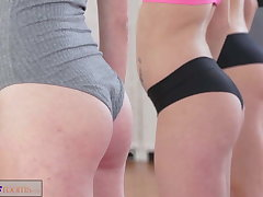FitnessRooms Lesbian threesome for hot plus sweaty gym babes