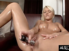 Pinky June Oils Up to Finger and Fuck Their way Pussy to Crest