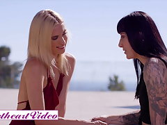 Aiden Ashley and Goth Charlotte Play Increased by A Strapon