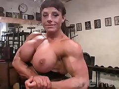 Female Bodybuilder Big Tits in someone's skin Gym
