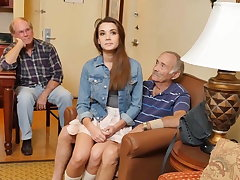 Teen lets say no to stepdad and his friends fuck say no to