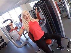Skinny German Fitness Girl Picks up and Fucks Stranger at hand Gym