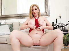 Beamy Breasts PAWG Sara Jay Finger Fucks Her Wet Shaved Pussy!