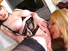 In flames XXX and Lucy Gresty get down and dirty