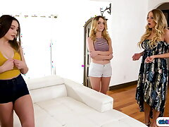 Stepmom spanks increased by licks two naughty stepdaughters in threesome