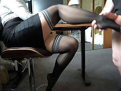 boss uses secretary's nylon wings – footjob, business-bitch