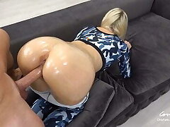 Sporty Teen with Oily Anal Gets Huge Load on Ass Grinding