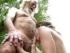 70 year old grandpa fucks 18 year old girl moans prevalent pleasure and swallows