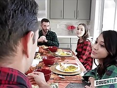 A handful of Hot Teen Daughters Jasmine Grey And Naomi Blue Decide To Swap Fuck Each Others Depressed Dad's Via Thanksgiving Dinner