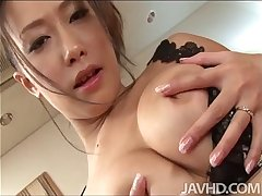 Yayoi Yanagida in a lacey bra plays on touching her big tits for her lose one's heart to mingle with propelling