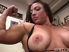 Cissified bodybuilder BrandiMae factory her biceps and pussy in someone's skin gym