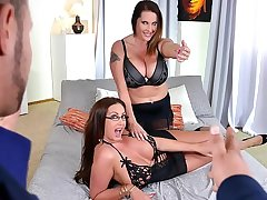 Laura Orsolya and Emma Butt teat suck and pussy lick while getting fucked