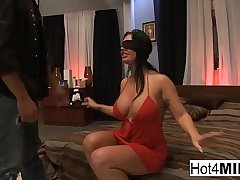 Blindfolded dour gets surprised anent a threesome