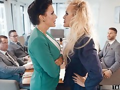 Business explicit Brandi Love lesbian sex in the office