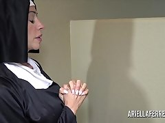 Erotic nun Ariella Ferrera sucking and swallowing cum